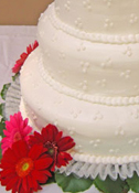 Smoothed Buttercream Icing with Buttercream Dots Wedding Cake
